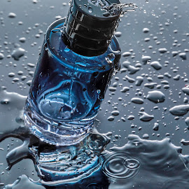 The smell of temptation by Ovidiu Sova - Artistic Objects Other Objects ( water, blue, colors, drops, perfume, wet,  )