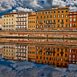 Reflections on river  by Gianluca Presto - Buildings & Architecture Homes ( home, old, reflection, water reflection, europe, tuscany, waterscape, reflections, travel, architecture, house, historic, ancient, buildings, cloudy, pisa, homes, italy, clouds, water, building, houses, beautiful, architectural detail, historic district, architect, european, cloud, river,  )
