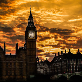 sunset by Balan Gratian - City,  Street & Park  City Parks ( sunset, big ben sunset, london cityscape, london sunset, big ben sunset colours )