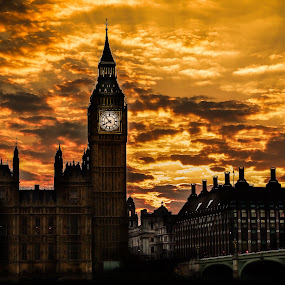 sunset by Balan Gratian - City,  Street & Park  City Parks ( sunset, big ben sunset, london cityscape, london sunset, big ben sunset colours )