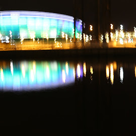 glasgow at night by Irene McDonald - Buildings & Architecture Office Buildings & Hotels ( armadilo, water, lights, glasgow, night )