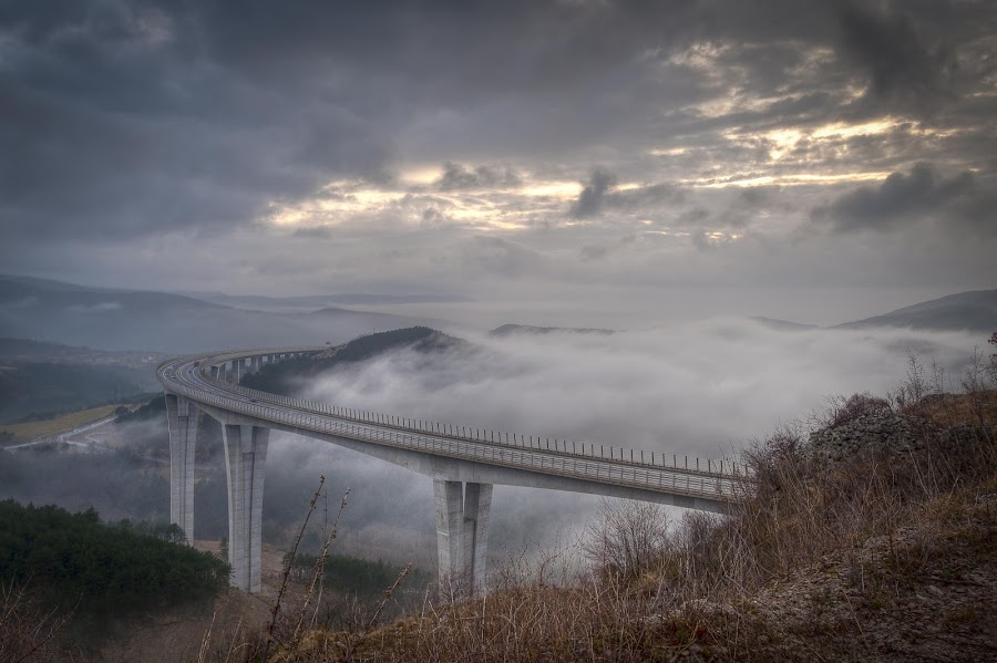 In the fog by Alma Studiosa - Buildings & Architecture Bridges & Suspended Structures ( clouds, fog, koper, viaduct, weather )
