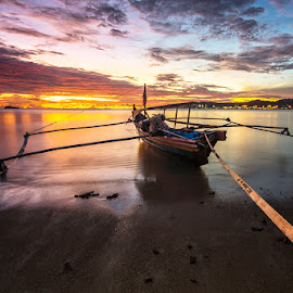 Tied Up by Ade Noverzan - Transportation Boats ( sunset, twilight, beach, boat )