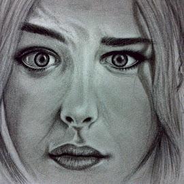 Chloe grace Moretz by Akhil D B - Drawing All Drawing ( expression, potrait, graphite, charcoal, fan art, chloe, chiaroscuro )