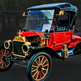 Red Ford 1914 Model T by John Amelia - Transportation Automobiles ( car, wheel, vintage, automobile, transportation, travel, collectable, convertible, tire, historic, motoring, automotive, american, model t, wooden spokes, nostalgia, nostalgic, ford, antique )