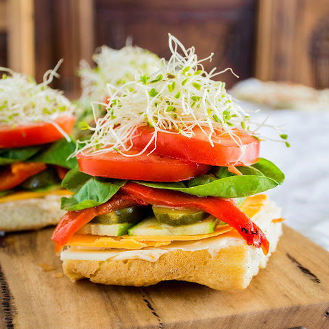 Stacked Veggie Sandwiches on Focaccia with Sun-Dried Tomato Aioli