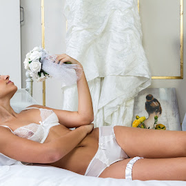 Waiting for the Groom by Paul Phull - People Portraits of Women ( model, sexy, lingerie, wedding, flowers, portrait )
