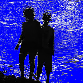 Nan and Neo by Dean Moriarty - People Couples ( water, sisters, blue, lake, pond, shadows )