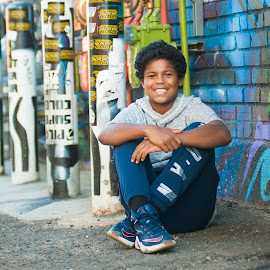 Urban Street Art RiNo District Denver ....cute Midlde School Boy  by Kellie Jones - Babies & Children Children Candids