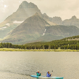 Kayaking on Swiftcurrent by Richard Michael Lingo - Sports & Fitness Watersports ( sports, montana, kayak, watersport, water )