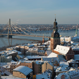 Old Town Riga by Keith Reling - City,  Street & Park  Skylines ( riga, skyline, snow )