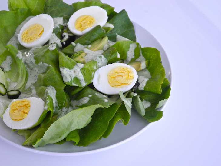 Basil Green Goddess Salad with Avocado and Egg Recipe | Yummly