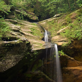 Lower Falls at Old Man's Cave by Josh Mayes - Landscapes Mountains & Hills ( water, hills, old, lower, man's, rock, beauty, cave, woods, nature, ohio, falls, hocking )