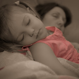 Sleepy by Scott Cove - People Family ( child, girl, selective colour, selective color, tired, sleeping, sleep )