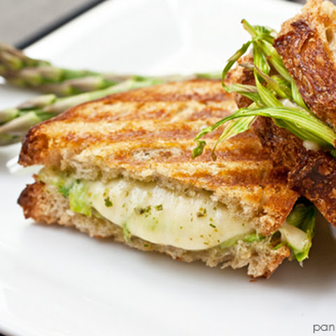 Grilled Jarlsberg with Shaved Asparagus and Lemony Arugula Pesto