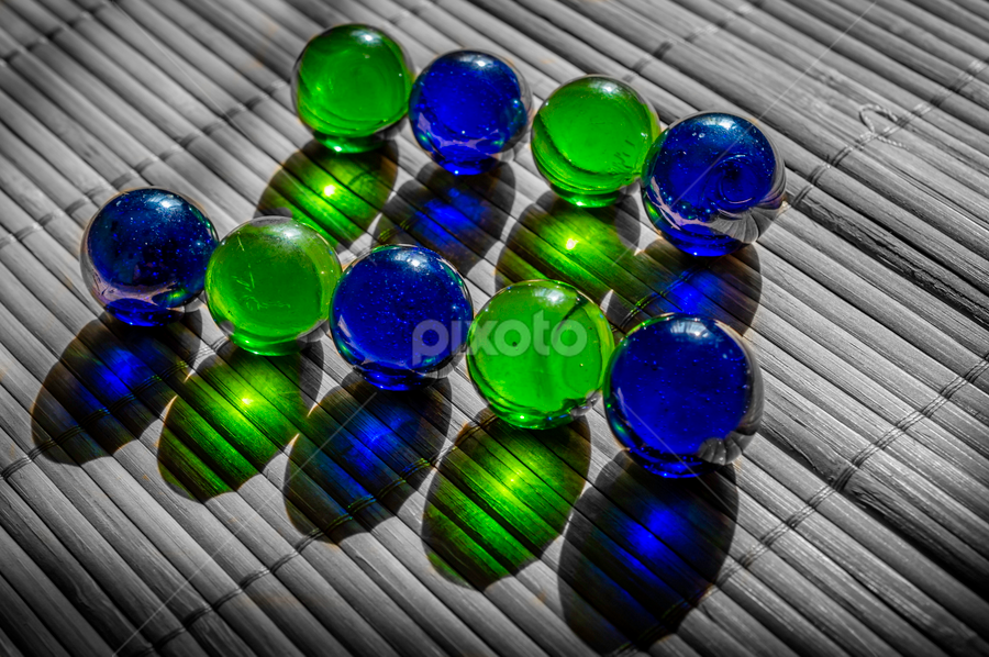 Marbles by Ovidiu Sova - Artistic Objects Other Objects ( green, blue, glowing, transparency, marbles, colors )