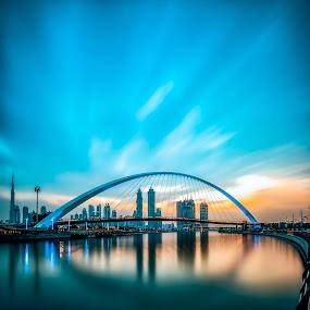Dubai Morning by Wissam Chehade - Buildings & Architecture Bridges & Suspended Structures ( sunrise, dubai water canal, cityscapes, clouds, long exposure, dubai )