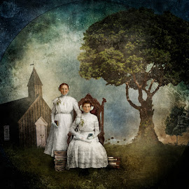 The Graduates by Tina Bell Vance - Illustration Sci Fi & Fantasy ( books, girls, digital collage, seated, digital manipulation, digital art, white, read, trees, graduates, women, portrait )