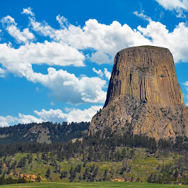 Devils Tower by Darrin Ralph - City,  Street & Park  Vistas ( clouds, national park, park, parks )