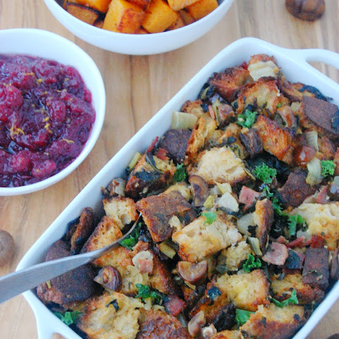 Chestnut Stuffing with Kale and Turkey Bacon