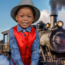 Boy at train station (Greenscreen) by Maxine Immelman - Babies & Children Child Portraits ( greenscreen, train, toddler, boy, portrait )