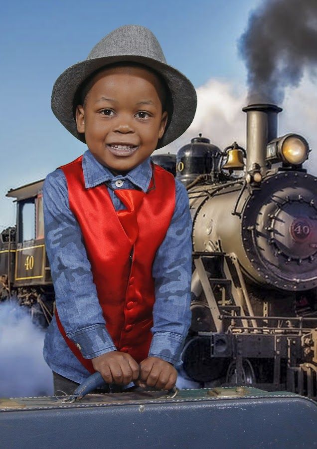Boy at train station (Greenscreen) by Maxine Immelman - Babies & Children Child Portraits ( greenscreen, train, toddler, boy, portrait )