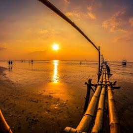 by Joy Advent - Landscapes Sunsets & Sunrises ( slowspeed, reflection, waterscape, sunset, indonesia, rembang, bridge, sunrise, landscape, photography )