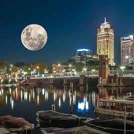 Fullmoon! by Jesus Giraldo - City,  Street & Park  Skylines ( lights, urban, moon, ámsterdam, composition, night, beauty, city )