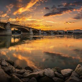 Margaret bridge by Daniel Olah - Buildings & Architecture Bridges & Suspended Structures ( clouds, sunrise, architecture, travel, city )