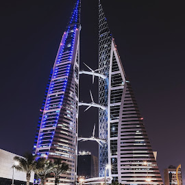 Bahrain World Trade Center by Mike Allen - City,  Street & Park  Night ( manama, night, bahrain, travel, lights )