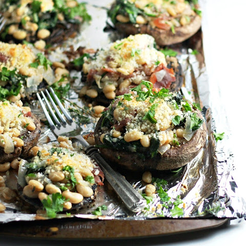 Stuffed Portobello Mushrooms with White Beans and Prosciutto