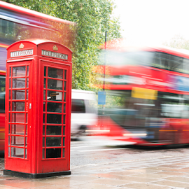Red Phone cabine and bus in London.  by Deyan Georgiev - Transportation Automobiles ( cabin, call, famous, phone, old, bus, europe, street, decker, retro, travel, capital, historic, city, typical, england, kingdom, transport, classic, united, uk, symbol, communication, vintage, british, traditional, tourism, double, booth, urban, red, european, london, box, public, telephone, antique, kiosk, english, culture, britain )