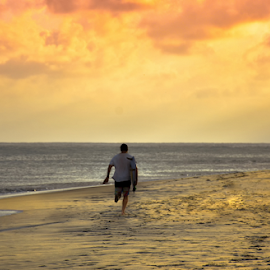 Walking To Firing Sky by Sihina Lahiru - Sports & Fitness Surfing ( surf, surfer, gold, golden hour, surfing, sunset, photo, photographer, sun, photography )