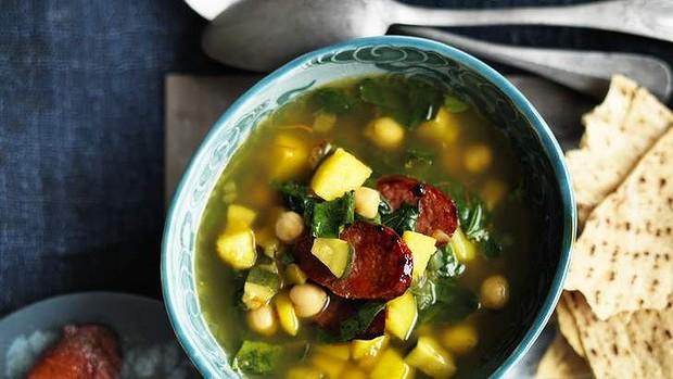 Chorizo, Saffron And Chickpea Soup Recipe | Yummly