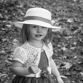 Look At Me by April Sadler - Babies & Children Child Portraits ( #child #black and white #summer #portrait #leaves )