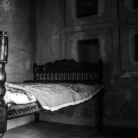 The Cot by Ebtesam Elias - Black & White Objects & Still Life