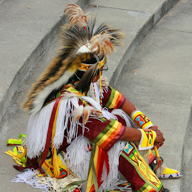 Round Dancer at a Pow Wow by Robert Hamm - People Musicians & Entertainers ( canada, native, round dancer, colorful, color, first nation, pow wow, winnipeg, regalia, indian, dancer, manitoba,  )