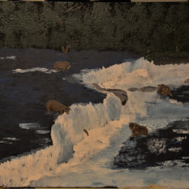 Fishing Grizzlies by Robin Smith - Painting All Painting ( nature, animals., acrylic, landscape )