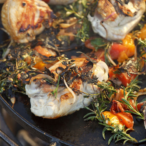 Griddled Chicken with Charred Herb and Tomato Salad