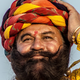 turbaned man by Prabhat Kumar - People Portraits of Men ( rajasthan, india, smile, people, portrait )