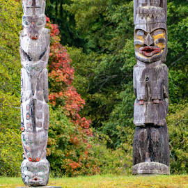 Two Totems by Keith Sutherland - Artistic Objects Antiques ( memorial first nations, first nations, memorial, alert bay, alert bay totem, totem pole )