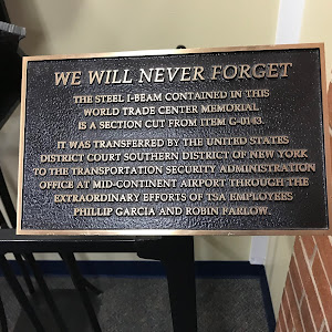 WE WILL NEVER FORGET THE STEEL I BEAM CONTAINED IN THIS WORLD TRADE CENTER MEMORIAL IS A SECTION CUT FROM ITEM G-0143. IT WAS TRANSFERRED BY THE UNITED STATES DISTRICT COURT SOUTHERN DISTRICT OF NEW ...