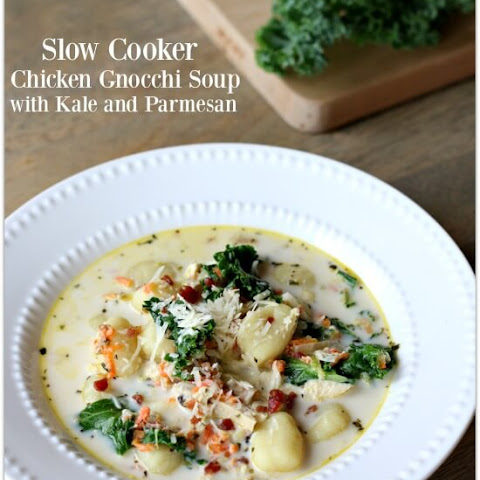 Slow Cooker Chicken Gnocchi Soup with Kale and Parmesan