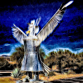 Native American by Dave Walters - Digital Art Abstract ( native american, art, statue, abstract, colors )