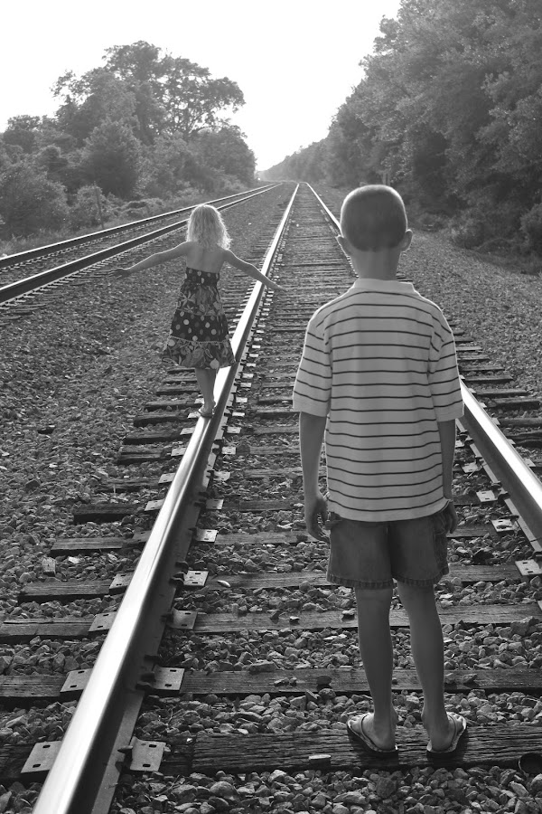 Dane waiting for AJ to fall off the track by Lindsay Griffin - Babies & Children Children Candids