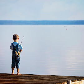 A Boy and a Lake by Sabrina Causey - Babies & Children Children Candids ( slinshot, fishing, boy, water, lake, fishing pole )