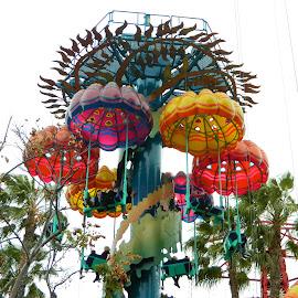 Jellyfish by Linda Randolph - City,  Street & Park  Amusement Parks ( ride, amusement park, disney, parachute, jellyfish,  )