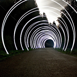 Down the Road by Augustin Cross - Abstract Light Painting ( circles, lightpainting, road )