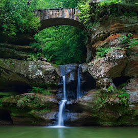 The Green Lagoon by Brian Brown - Landscapes Waterscapes ( waterscape, waterfall, hiking, hocking hills, ohio, bridges, forrest )