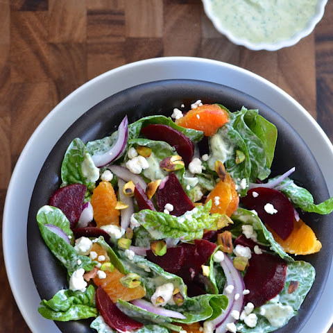 Spinach & Beet Salad with Goddess Dressing